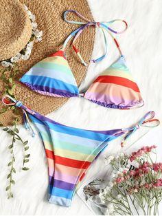 Product Halter Rainbow String Bikini Set available for Zaful WW, get it now ! Swimwear Model, Swimwear Sale, Swimwear Brands, Swimwear Fashion, Cheap Swimsuits, Modest Swimsuits, Bikini Halter, Bikini Swimwear, Summer Swimwear