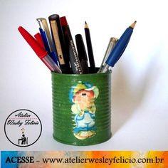 Porta Lápis - Atelier Wesley Felício #Artesanato #Crafts #Handmade #Latinha #Reciclagem #Sustentabilidade #Decoração #Escola #Escritório #School