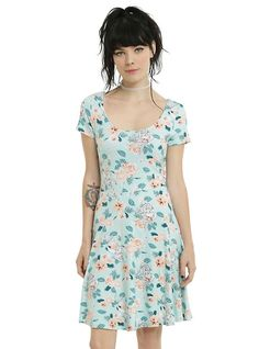 Disney The Little Mermaid Ariel Floral Dress, TURQUOISE
