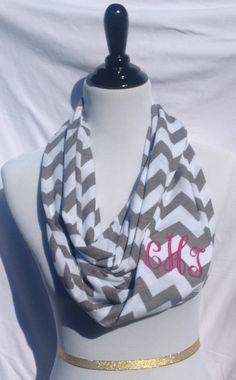 Monogrammed Gray and white chevron Infinity scarf, chevron Infinity scarf, zigzag scarf, infinity scarf, monogrammed gift