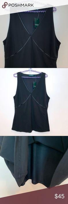 25f18cf1f7ffde NWT Ralph Lauren Sleeveless V-Neck Black Top SZ XL Gorgeous, Elegant Ralph  Lauren