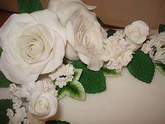 Amazing white roses from The Cake Lady