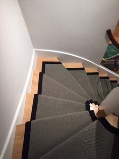 Client: Private Residence In North London Brief: To supply & install grey stair carpet with black border to stairs Grey Stair Carpet, Carpet Stairs, Stairway Lighting, North London, Carpet Runner, Stairways, Carpets, Flooring, Group