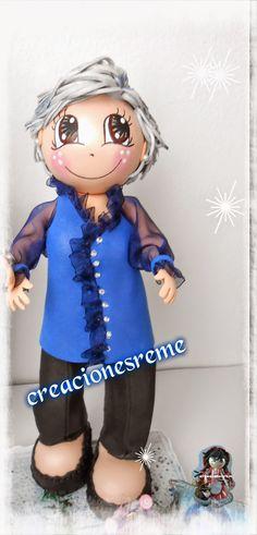 fofucha personalizada Muñequitas de goma eva Creacionesreme fofucha señora mayor,pelo cano.#fofuchas