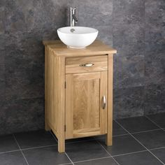 Ohio Solid Oak 45cm Single Door Narrow Freestanding Cabinet and Basin