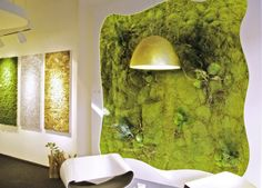 ・ Moss Fashion, Architectural Materials, Moss Garden, Curtains, Architecture, Lighting, Interior, Green Walls, Design