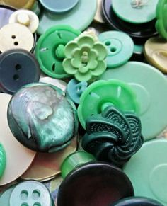 Shades of green vintage buttons