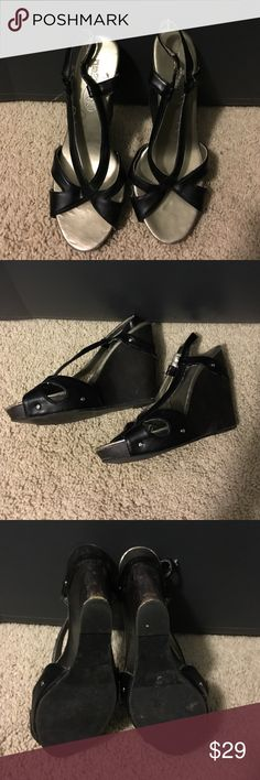Black Wedges Black wedges. 4 inch wedge approximately. Stretchy strap around the ankle. Excellent condition. Rue 21 Shoes Wedges