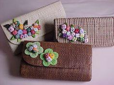 carteiras com flores de feltro
