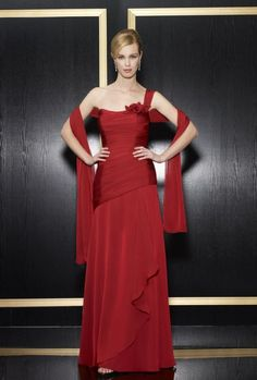 A-line One Shoulder Asymmetrically Ruched Bodice Flower Accent Chiffon Evening Dress-soe0077, $192.95