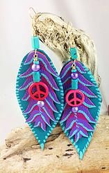 """Item E360 5 1/2"""" Teal and dark pink leather custom painted, purple, pink 'peace' turquoise magnesite beads, purple foil glass beads; Bright brass hooks $25.00"""