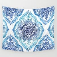 Wall Tapestry featuring Indian Ink - in Blues by Micklyn