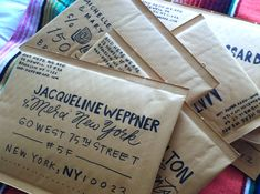 Pretty Hand Lettering on very basic envelopes. Inspiring! (Via Say Yes to Hoboken)