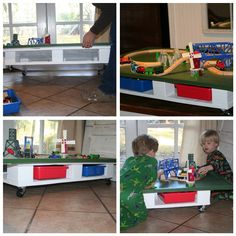 Pallet turned rolling underbed train, car, or lego table
