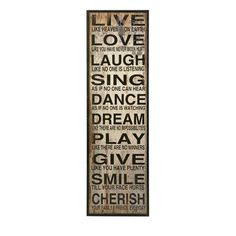 "Vintage Design Black White Large Wood ""Live Laugh Love"" Plaque 61"" Tall 