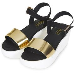 TOPSHOP HONEY Wedge Sandals ($30) ❤ liked on Polyvore