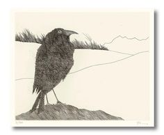 Paul Flora Art And Illustration, Illustrations, Paul Flora, Crow Art, Armin, Moose Art, Photo Wall, Birds, Black And White