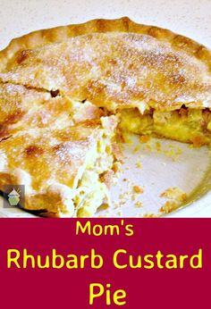 Mom's Rhubarb Custard Pie ! Gosh this recipe certainly can take you down memory lane! This is a wonderful, classic recipe, and as many will know, the combination of rhubarb and custard is a perfect pairing. It's a very easy recipe to make, and you can choose to use ready made pastry, or use our quick and easy recipe to make some at home. This recipe actually came from Libby's mother's recipe collection, and Libby now makes this for her family and it's always a hit so Lib...
