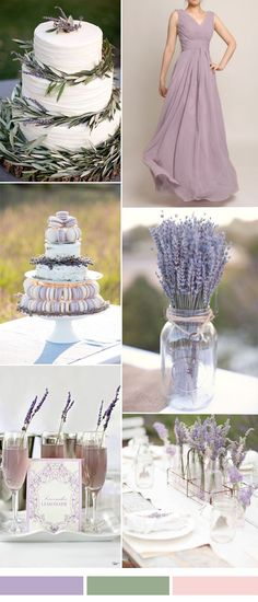 lavender wedding color ideas with bridesmaid dresses