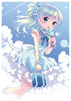 ✮ ANIME ART ✮ food. . .ice cream. . .sweets. . .clouds. . .pretty dress. . .ruffles. . .blue hair. . .ponytail. . .cute. . .kawaii
