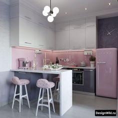 Małe mieszkanie w różowym kolorze - Aranżacja wnętrz Biało różowa kuchnia. Farmhouse Kitchen Decor, Home Decor Kitchen, Kitchen Interior, Home Kitchens, Kitchen Room Design, Home Room Design, Modern Kitchen Design, Home Bedroom, Home Living Room