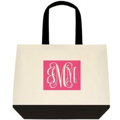 8b0f610987 Custom Monogrammed Preppy canvas tote bag (large) Preppy Monogram