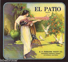 CRATE LABEL VINTAGE RARE EL PATIO LOS ANGELES WOMAN DOVE ORANGE FRUIT 1930S