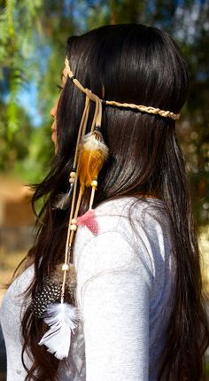 Feather headband: handmade feather head piece, native american indian headdress, boho hippie tribal jewelry