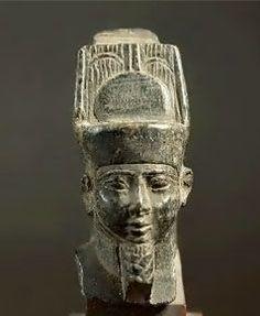 Statue of Kushite king Taharqa as deity Amun (690-664BC) 25th dynasty, Kushite Ethiopian rule. Egypt.