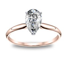 $10,270 - Solitaire rose gold pear engagement ring. 2ct-3ct, J color, SI2