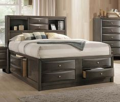 Bedframe with drawers King Size Contemporary Gray Queen Storage Bed Emily Rc Willey Buy New Storage Bed From Rc Willey Queen Size Storage Bed, King Storage Bed, Bed Frame With Storage, Bedroom Storage, Storage Headboard, King Size Bedroom Sets, Queen Bedding Sets, Grey Bedding, Luxury Bedding