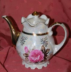 Stunning Fancy Vintage Lusterware Tea Pot Porcelain Big Pink Rose Gold | eBay