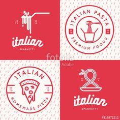 Vector: Set of italian food logo, badges, banners, emblem for fast food, pizza, spaghetti, pasta restaurant. Vector illustration.