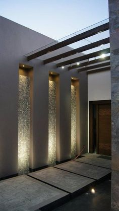 Modern house entrance with great lighting from Even though ancient within idea, the pergola