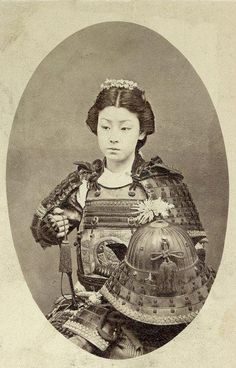 Rare vintage photograph of an onna-bugeisha, one of the female warriors of the upper social classes in feudal Japan (emerged before Samurai). Onna Bugeisha were the exception, rather than the rule, but they still played an important role nonetheless. One famous example is empress Jingu, who reportedly lead a successful conquest against Korea in 200 AD without shedding a single drop of blood (or so the legends say).