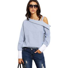 Blue Striped Fold Over Asymmetric Shoulder Contrast Cuff Shirt  $23.00 Free Shipping on all orders www.ShopDulceVida.com . #WorkWear #Dress #Outfit #simpleoutfits #casual #skirt #blouse #romper #jumpsuit #fashion #style #trends #pretty #limited #summer