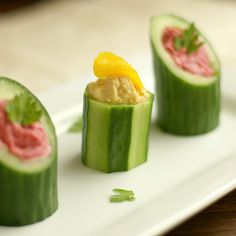 Cucumber Cup Appetizers | What a fun and easy appetizer recipe for parties! I never thought to do this.