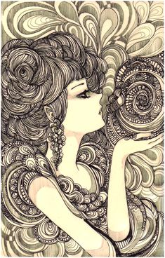 Nautilus by *koyamori on deviantart zentangle/doodles/zendalas искусство, г Doodle Girl, Zen Doodle, Zantangle Art, Coloring Pages For Grown Ups, Street Art, Doodles Zentangles, Illustration, Doodle Patterns, Living At Home