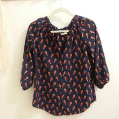 [Old Navy] Birdie Blouse Lots of people love to style this top and it can be hard to find since it was released a while ago by Old Navy.  Some fading to the navy blue color due to wash wear. Old Navy Tops Blouses