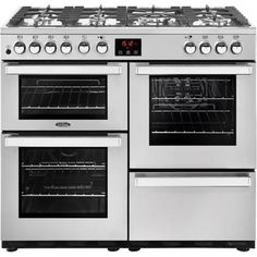 The Belling Cookcentre Professional Stainless Steel Dual Fuel Range Cooker has a stylish design that would look great in any kitchen. The Belling Cookcentre Professional Stainless Steel Dual Fuel Range Cooker features seven gas burners Induction Range Cooker, Electric Range Cookers, Dual Fuel Range Cookers, Electric Oven, Gas Cookers, Electric Cooker, John Lewis, Cuisines Diy