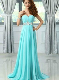 Image of Beautiful Sweetheart Long Blue Beaded Prom Dresses , Evening Gowns, Formal Dresses