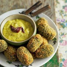 Spinach fritters with anchovy dip