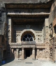 Ajanta Caves - The entrance to cave 19 Spink believes that some time after the Satavahana period caves were made the site was abandoned for a considerable period until the mid-5th century, probably because the region had turned mainly Hindu[17]