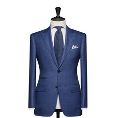 Tailored 2-Piece Suit – Fabric 4585 Birdseye Blue Cloth weight: 230g Composition: 45% Wool, 42% Silk and 8% Mohair