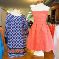 willyjays:  Something for now and something for warmer weather! We think the coral would be perfect for Carolina cup! Blue dress is only $39...