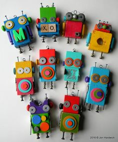 DIY Robot Idea with Colored Wooden Blocks, Simple Hardware, ABCs, Geo Shapes, and Recyclables. Such Fun & Games with Creative Robot Characters. By Jen Hardwick Wood Crafts, Diy And Crafts, Craft Projects, Crafts For Kids, Arts And Crafts, Kids Woodworking Projects, Wood Projects For Kids, Woodworking Organization, Woodworking Tools