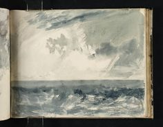Joseph Mallord William Turner, 'A Stormy Sea and Sky by Daylight, Possibly a Study Relating to the Eddystone Lighthouse' c.1813 http://paintwatercolorcreate.blogspot.com/2014/02/watercolor-cloud-studies-and-turner.html