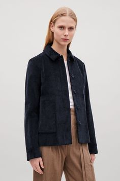 COS image 2 of Boxy corduroy jacket in Navy