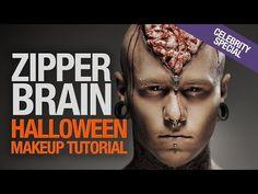 Zipper brain halloween makeup tutorial (with Linus Svenning) - YouTube