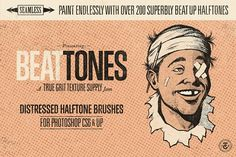 BEAT TONES: Beat Up Halftone Brushes by True Grit Texture Supply on @creativemarket